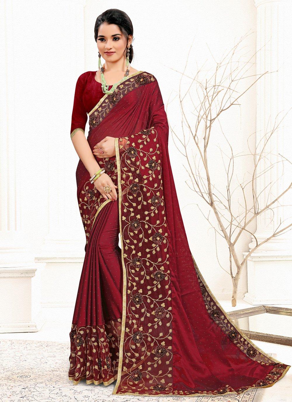 Banglori Silk Maroon Sequins Classic Designer Saree