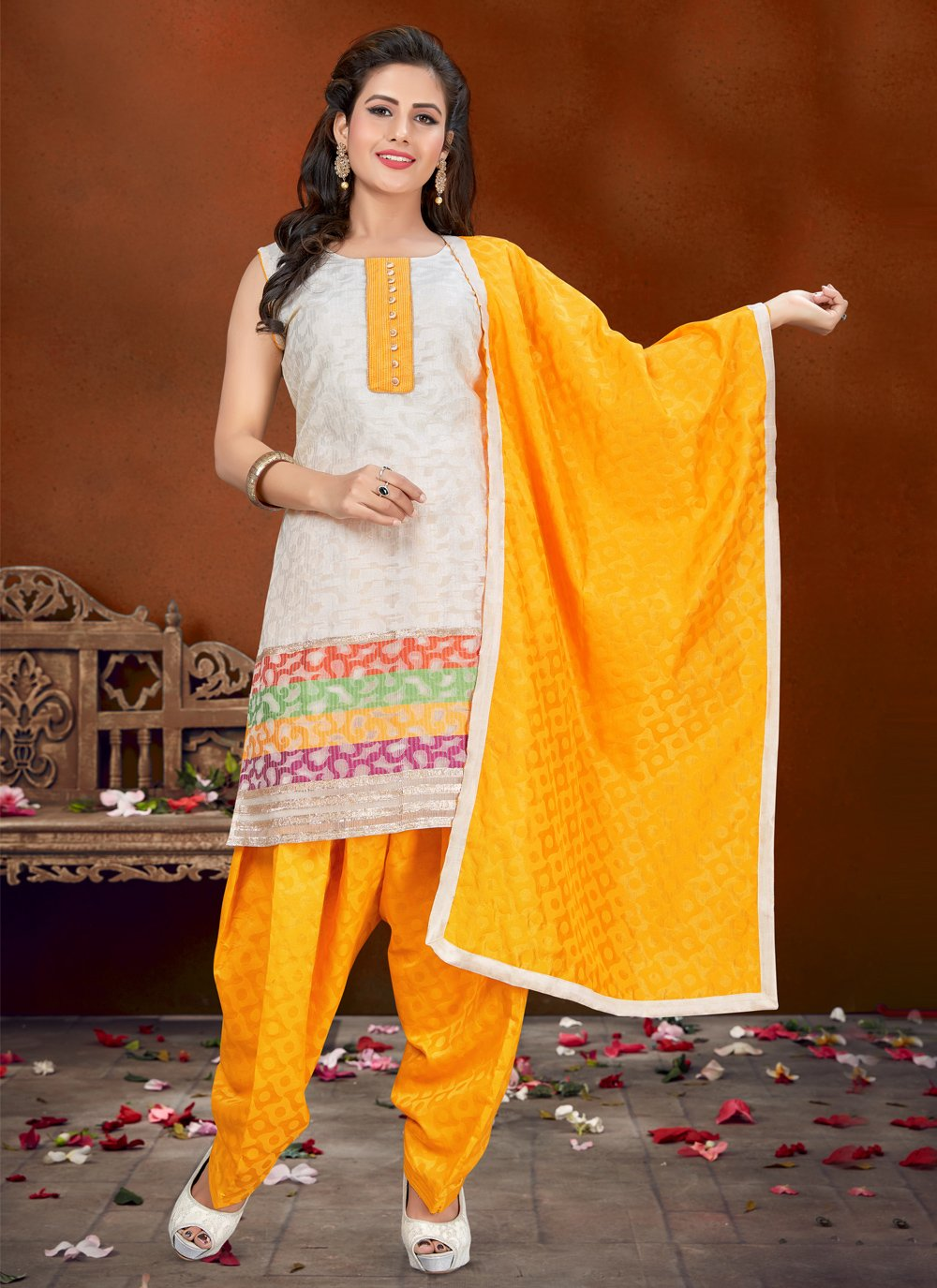 Banglori Silk Off White Fancy Designer Patiala Suit