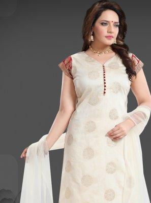 Banglori Silk Off White Lace Churidar Designer Suit