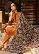 Banglori Silk Orange Embroidered Pant Style Suit