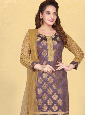 Banglori Silk Purple Fancy Designer Straight Suit