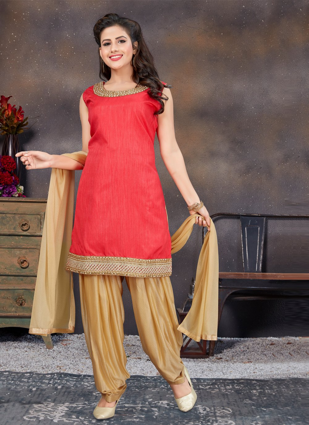 Banglori Silk Stone Work Red Designer Patiala Suit