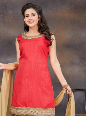 Banglori Silk Stone Work Red Designer Patiala Suit