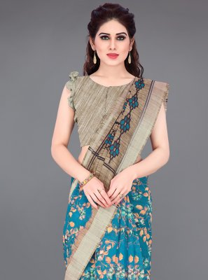 Beige and Blue Cotton Printed Saree