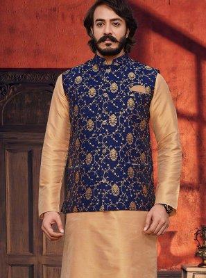 Beige and Blue Festival Jacquard Silk Kurta Payjama With Jacket