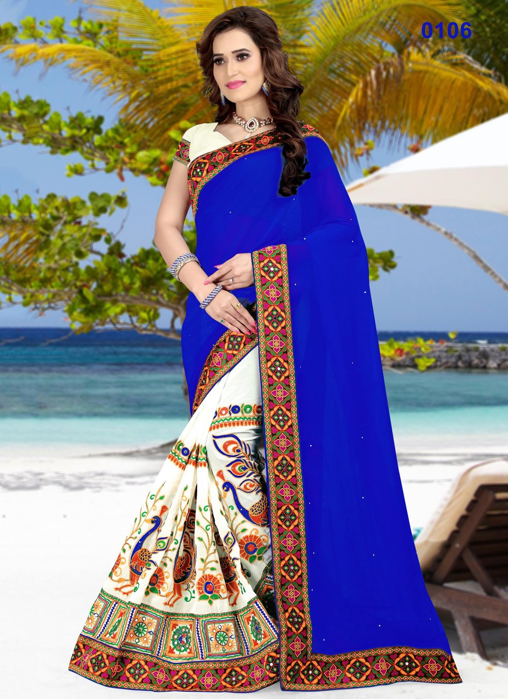 Beige and Blue Patch Border Half N Half Designer Saree