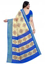 Beige and Blue Printed Printed Saree