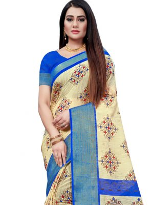 Beige and Blue Printed Printed Saree