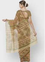 Beige and Brown Color Printed Saree