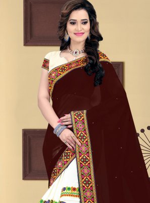 Beige and Brown Faux Georgette Festival Half N Half  Saree