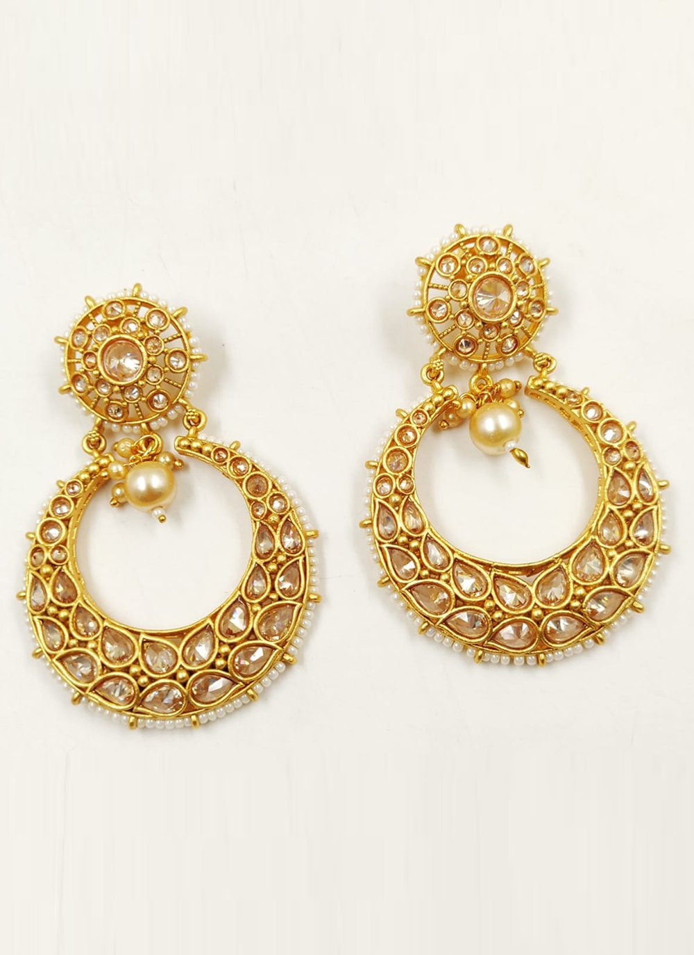 Beige and Gold Stone Sangeet Ear Rings