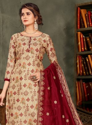 Beige and Maroon Embroidered Chanderi Designer Pakistani Suit