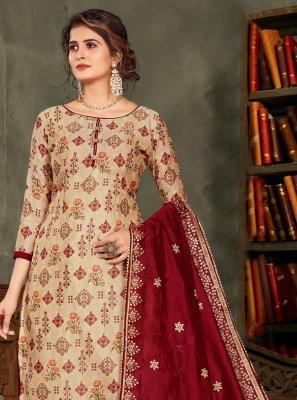 Beige and Maroon Embroidered Chanderi Designer Pakistani Suit