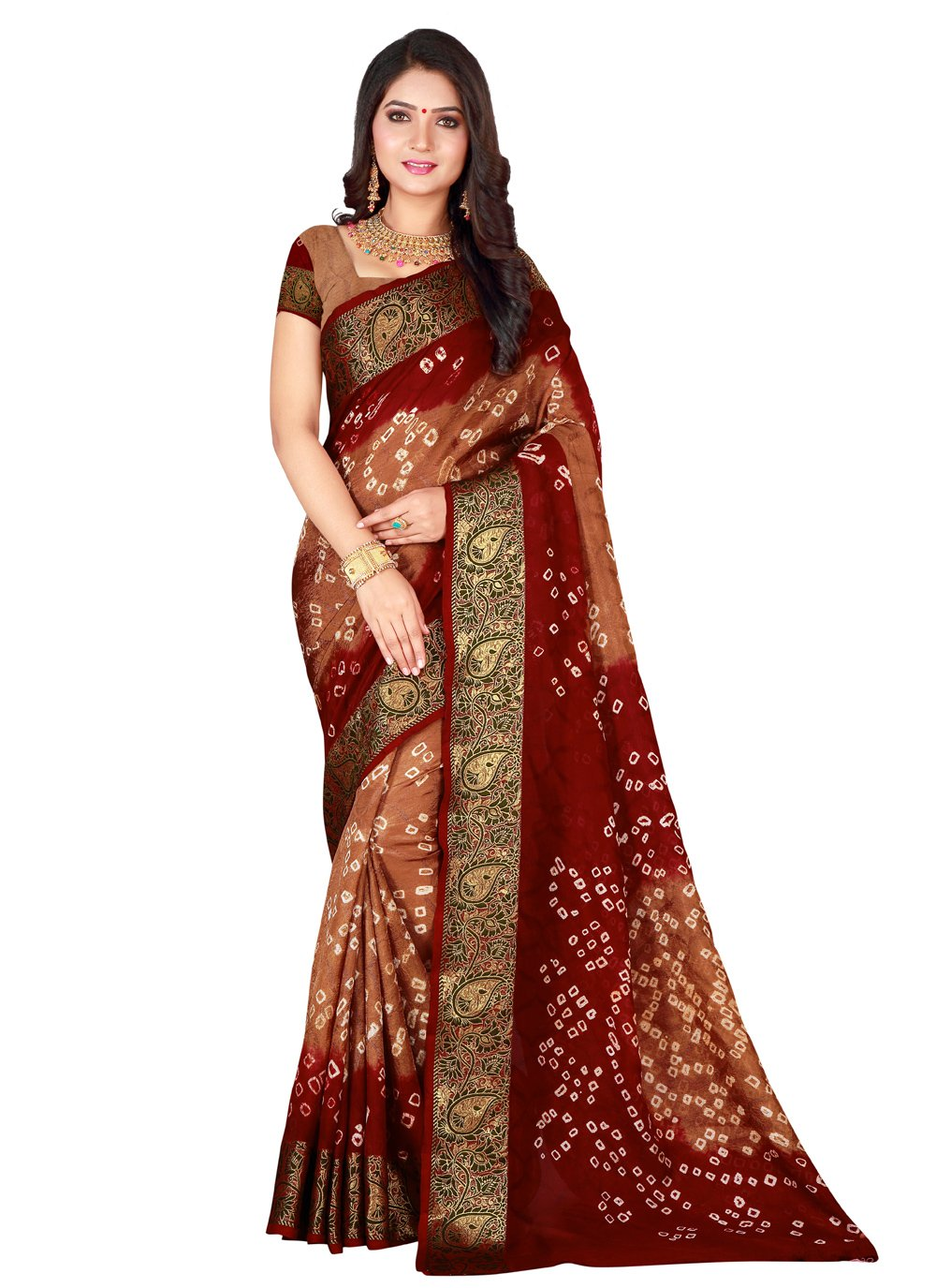 Beige and Maroon Patch Border Designer Traditional Saree