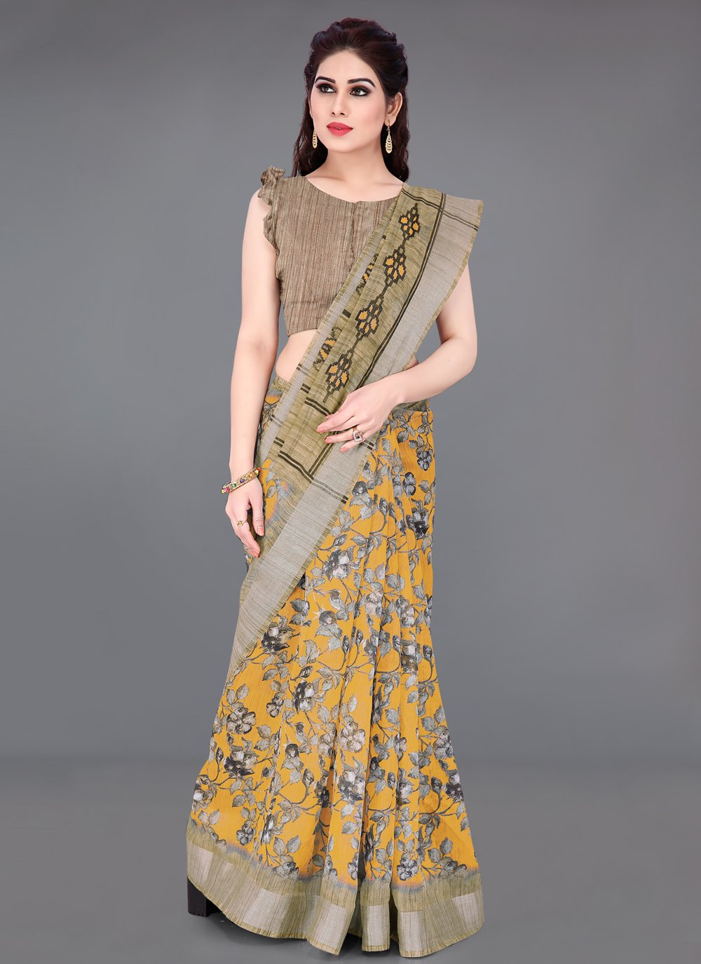 Beige and Mustard Casual Printed Saree