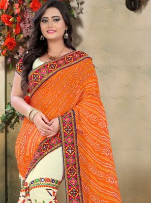 Beige and Orange Embroidered Festival Half N Half Designer Saree