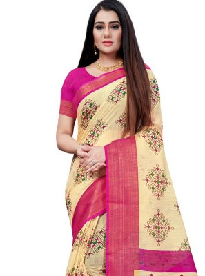 Beige and Pink Casual Printed Saree