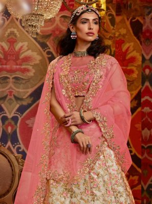 Beige and Pink Raw Silk Embroidered Lehenga Choli