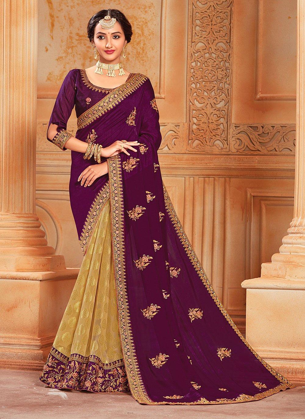 Beige and Purple Patch Border Silk Designer Half N Half Saree