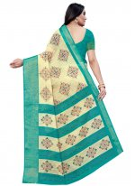 Beige and Rama Casual Cotton Printed Saree