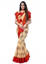 Beige and Red Casual Printed Saree