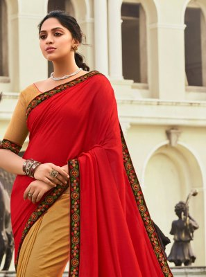 Beige and Red Patchwork Designer Half N Half Saree