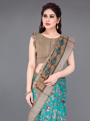 Beige and Turquoise Printed Cotton Printed Saree