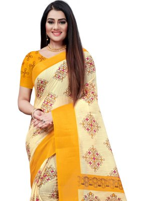 Beige and Yellow Casual Printed Saree