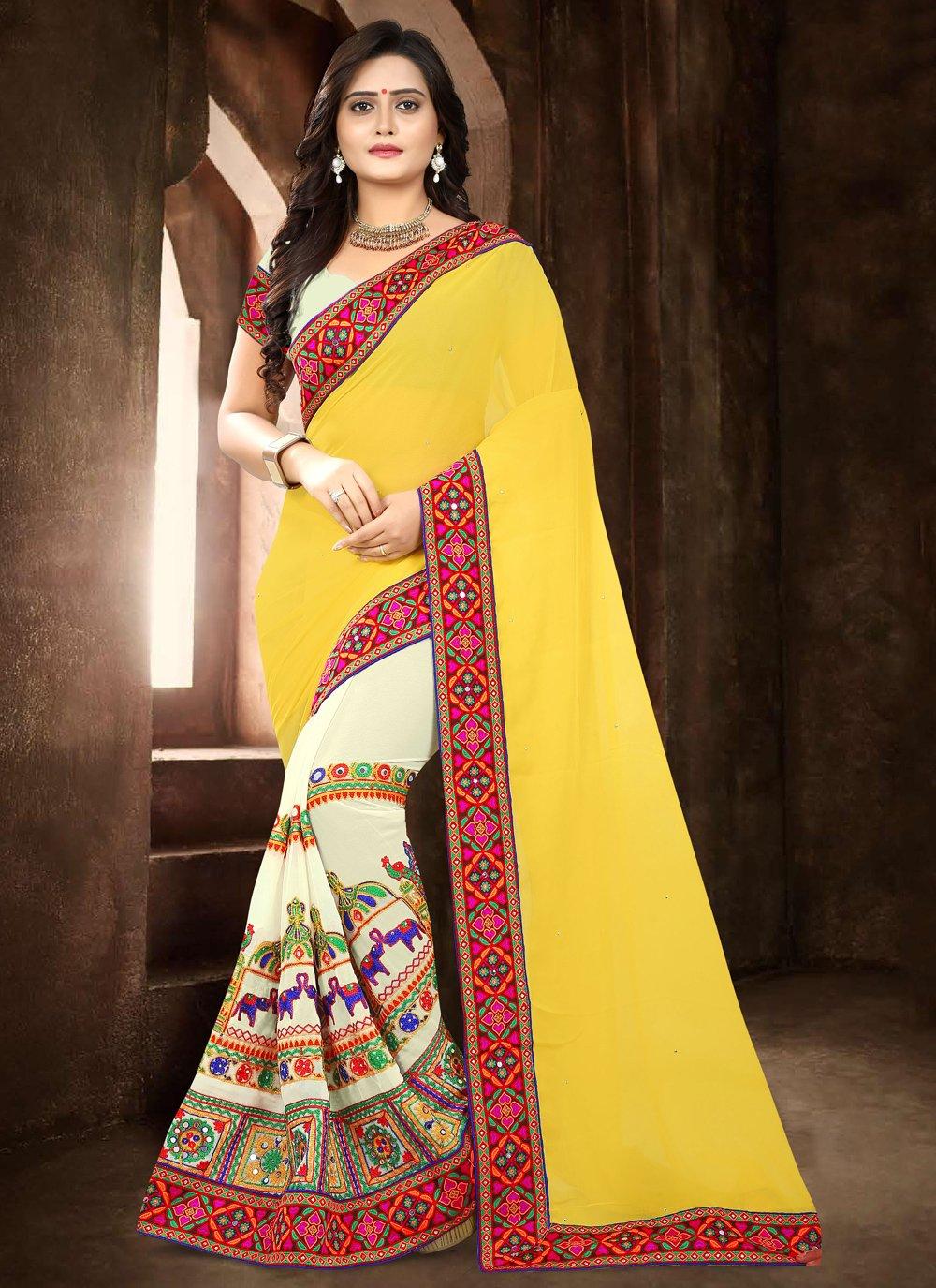 Beige and Yellow Half N Half  Saree