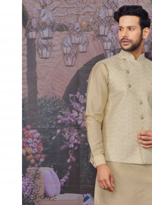 Beige Art Banarasi Silk Plain Kurta Payjama With Jacket