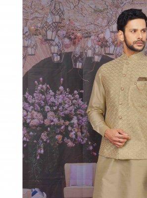 Beige Art Banarasi Silk Plain Kurta Pyjama