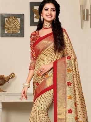 Beige Art Silk Classic Saree