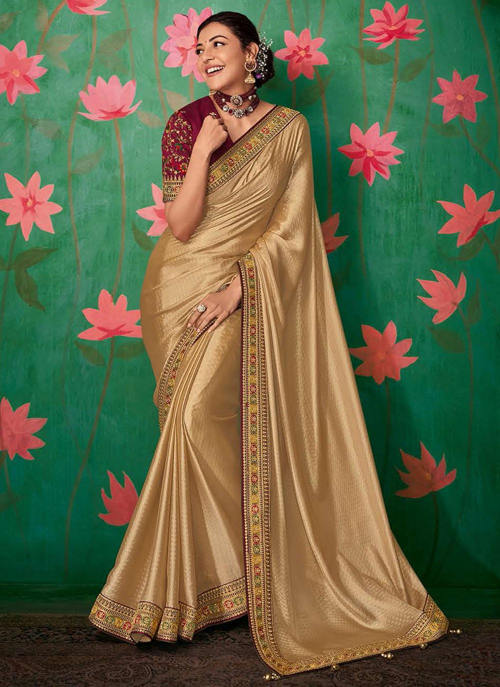 Beige Art Silk Embroidered Classic Saree