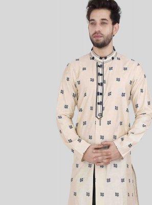 Beige Art Silk Print Kurta Pyjama