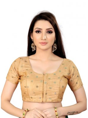 Beige Art Silk Printed Blouse