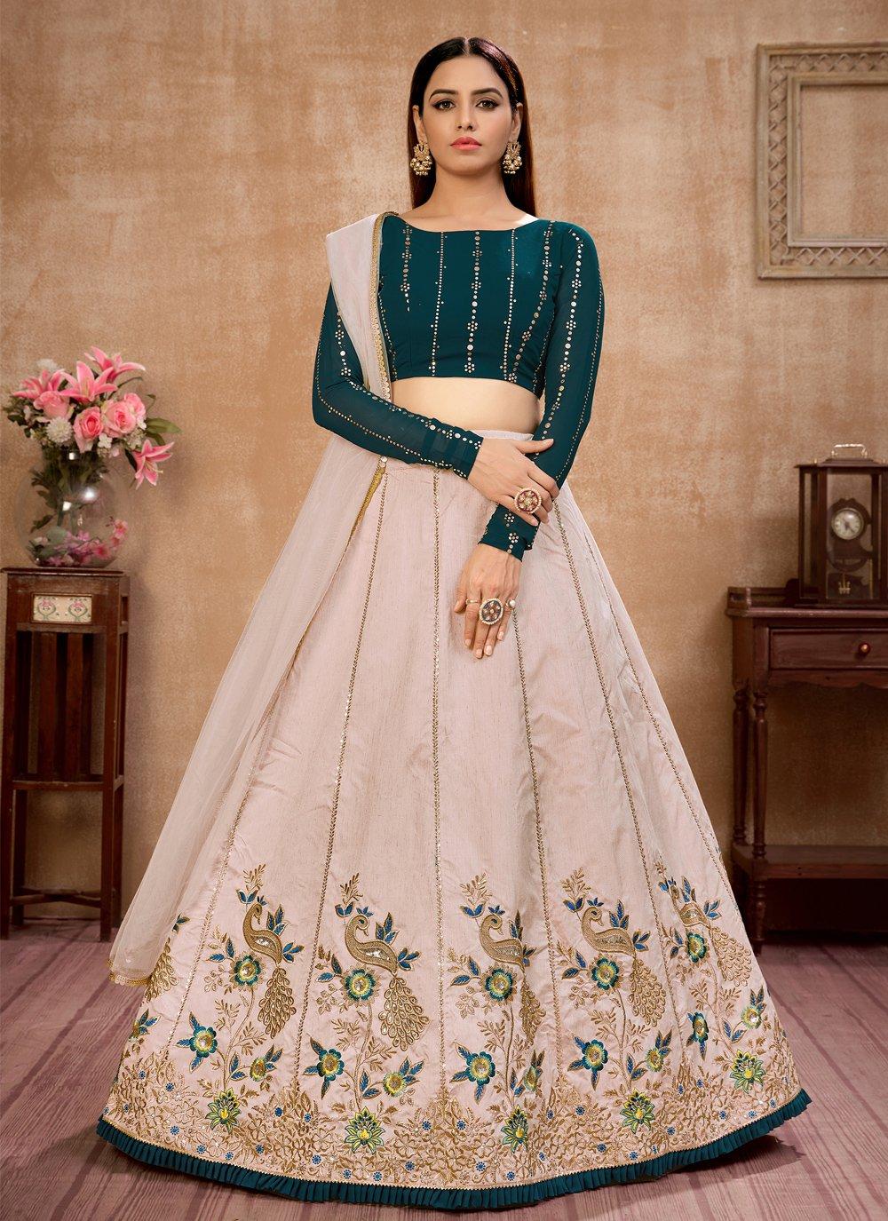 Beige Art Silk Sangeet Lehenga Choli