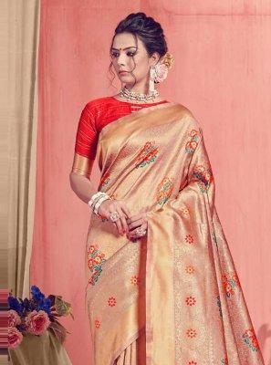 Beige Art Silk Weaving Traditional Designer Saree