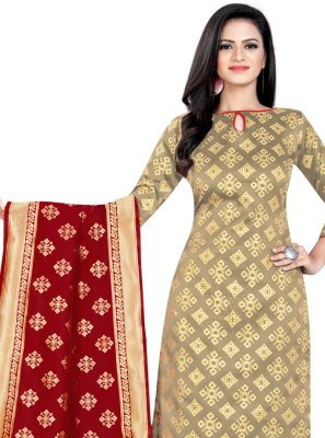 Beige Banarasi Silk Weaving Churidar Salwar Suit