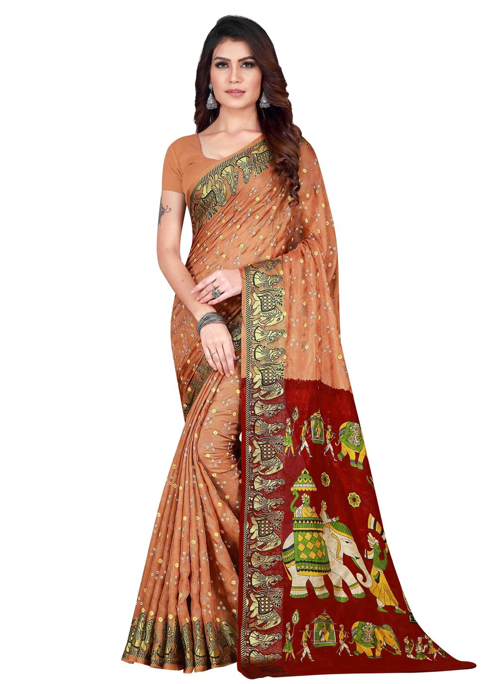 Beige Ceremonial Art Silk Traditional Designer Saree