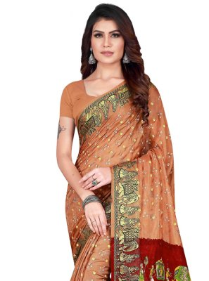 Beige Ceremonial Art Silk Traditional Designer Saree