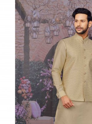 Beige Ceremonial Kurta Payjama With Jacket