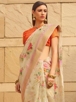 Beige Ceremonial Printed Saree