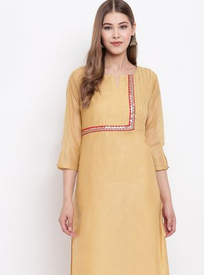 Beige Chanderi Festival Party Wear Kurti