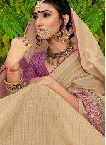 Beige Color Classic Saree