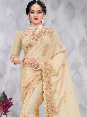 Beige Color Designer Saree