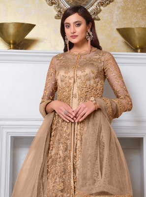 Beige Color Long Choli Lehenga