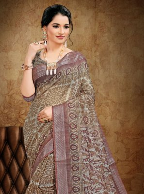 Beige Cotton Abstract Print Printed Saree