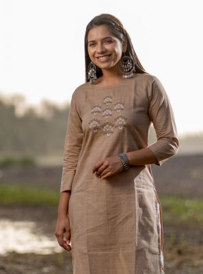 Beige Cotton Party Wear Kurti