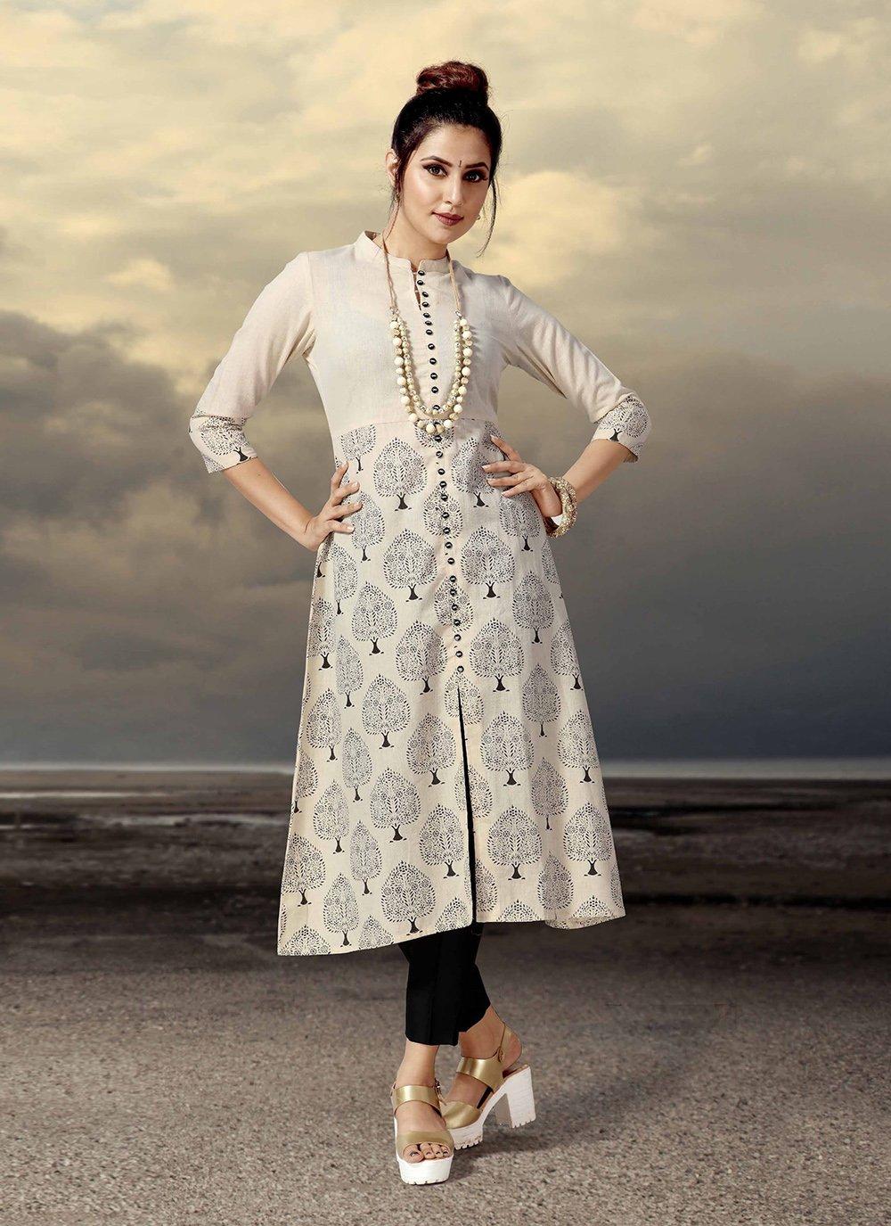 Beige Cotton Printed Designer Kurti