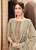 Beige Cotton Silk Festival Designer Palazzo Suit